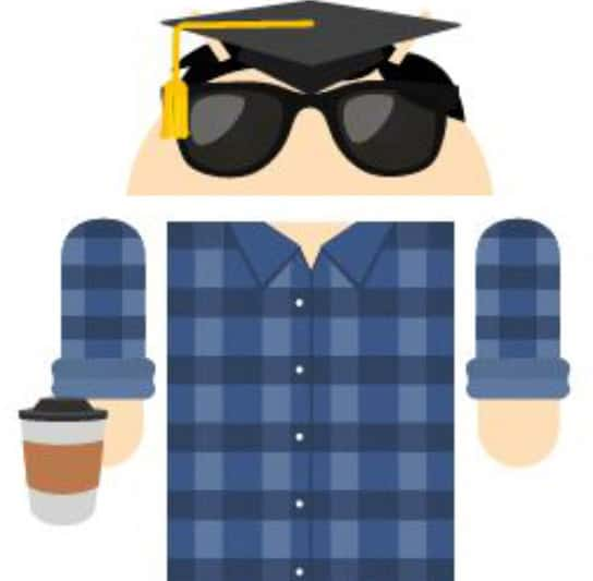 An image of an android like person from the waist up with sunglasses and a checkered shirt.